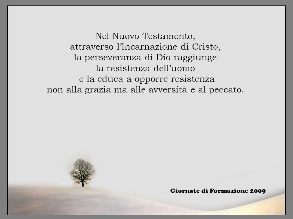 Nel Nuovo Testamento, attraverso l'Incarnazione di Cristo, la perseveranza di Dio raggiunge la resistenza dell'uomo e la educa a opporre resistenza non alla grazia ma alle avversità e al peccato.