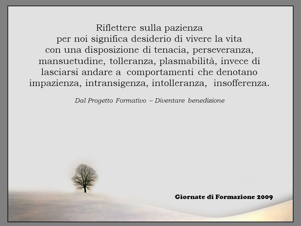 Riflettere sulla pazienza per noi significa desiderio di vivere la vita con una disposizione di tenacia, perseveranza, mansuetudine, tolleranza, plasmabilità, invece di lasciarsi andare a comportamenti che denotano impazienza, intransigenza, intolleranza, insofferenza. Dal Progetto Formativo – Diventare benedizione