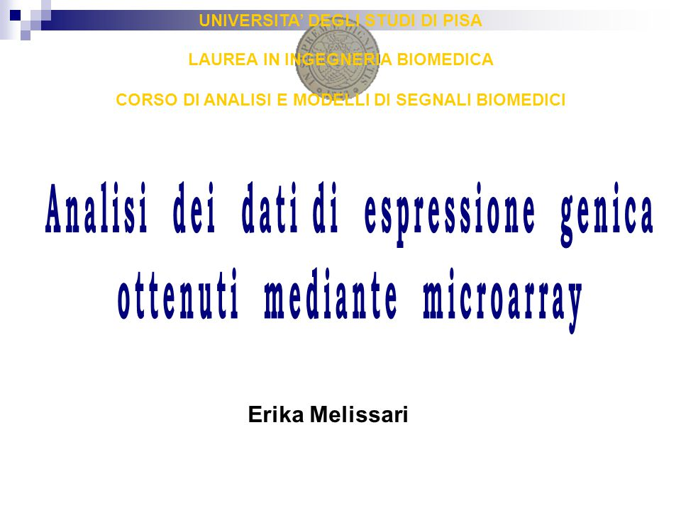 Analisi dei dati di espressione genica ottenuti mediante microarray