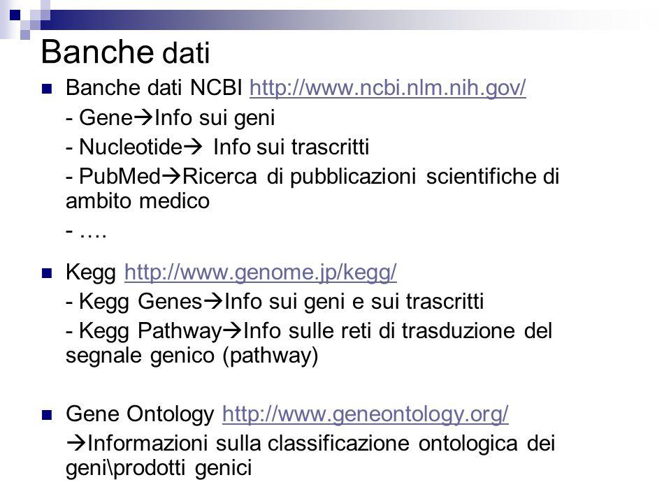 Banche dati Banche dati NCBI http://www.ncbi.nlm.nih.gov/