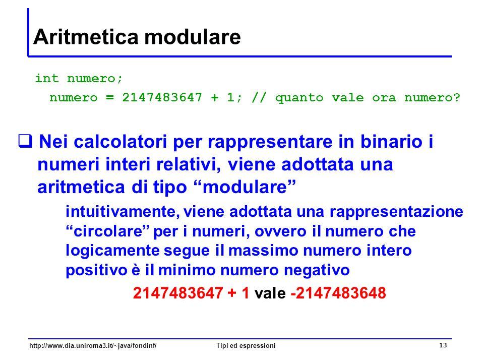 Aritmetica modulare int numero; numero = 2147483647 + 1; // quanto vale ora numero