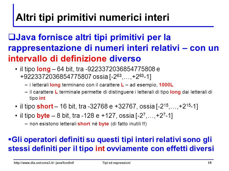Altri tipi primitivi numerici interi