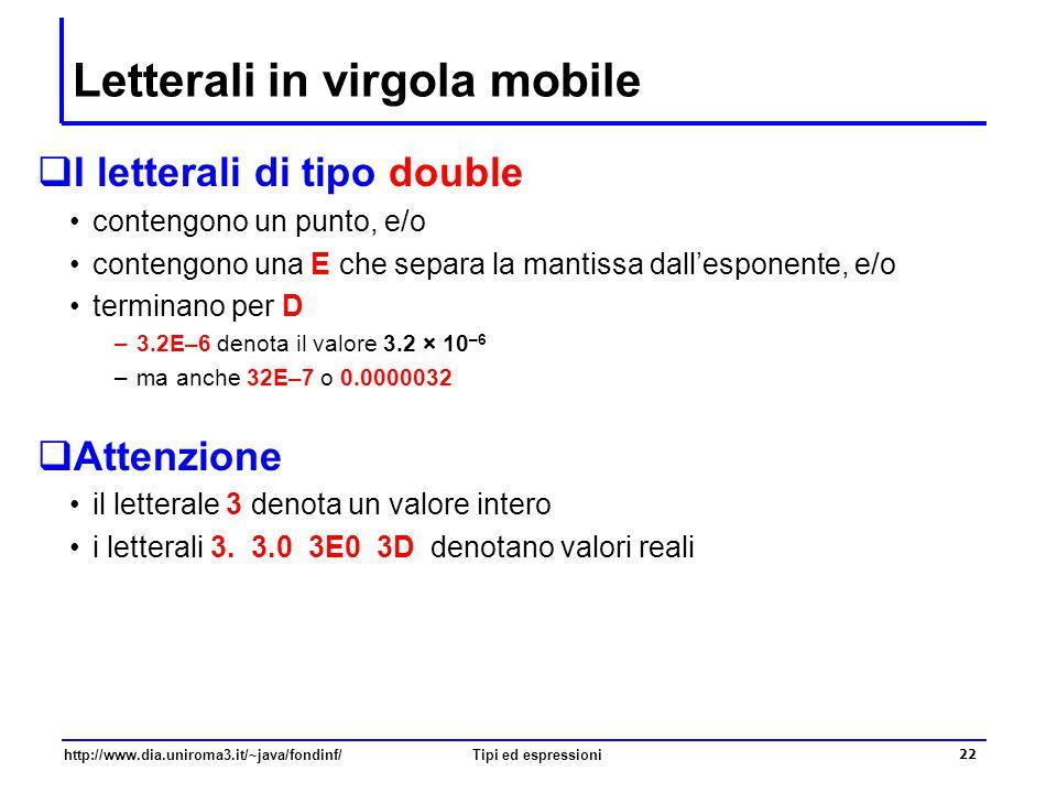 Letterali in virgola mobile