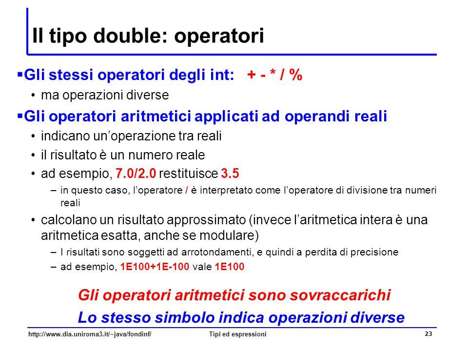Il tipo double: operatori