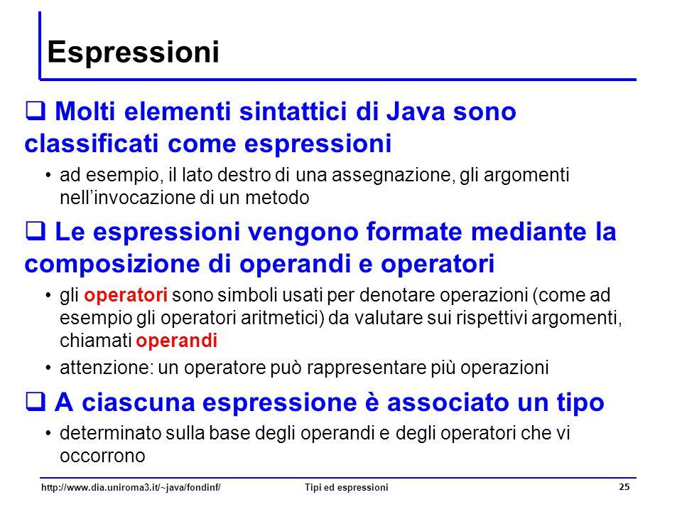 Espressioni Molti elementi sintattici di Java sono classificati come espressioni.