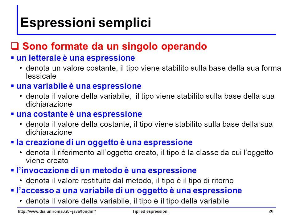 Espressioni semplici Sono formate da un singolo operando