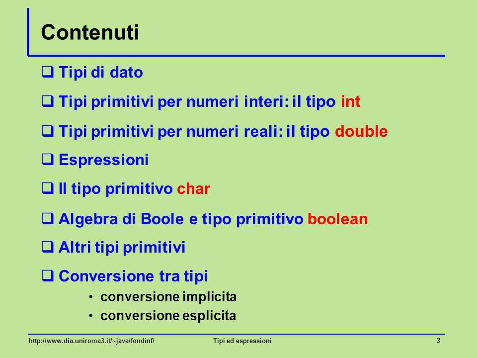 Contenuti Tipi di dato Tipi primitivi per numeri interi: il tipo int