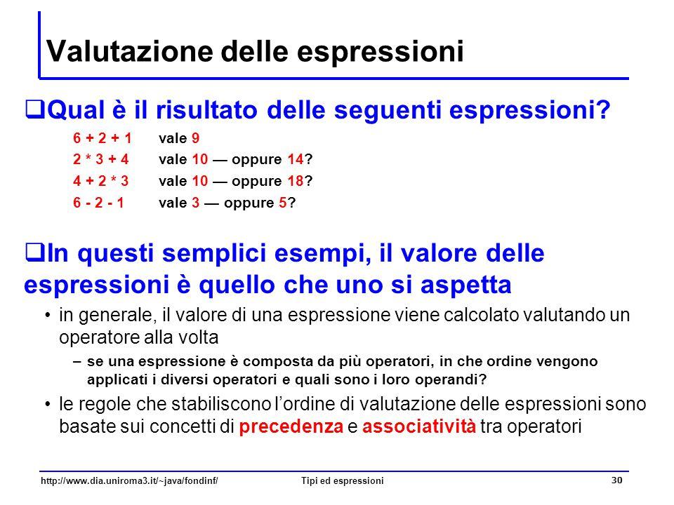 Valutazione delle espressioni