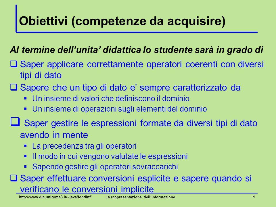 Obiettivi (competenze da acquisire)