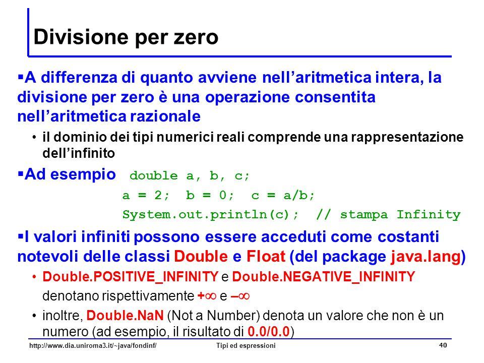 Divisione per zero A differenza di quanto avviene nell'aritmetica intera, la divisione per zero è una operazione consentita nell'aritmetica razionale.
