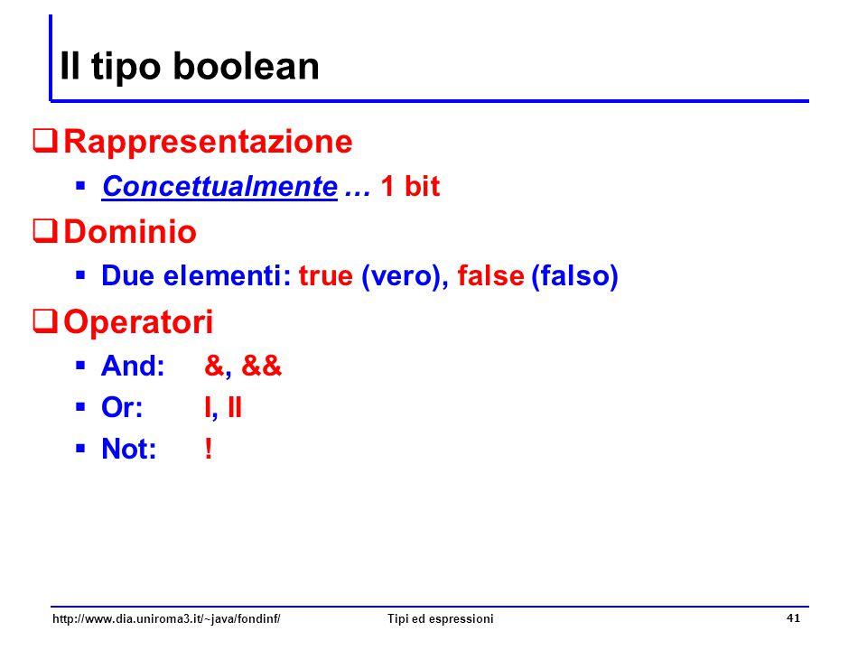Il tipo boolean Rappresentazione Dominio Operatori