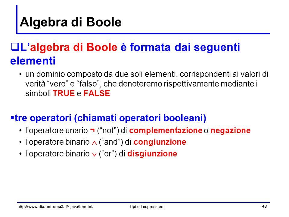 Algebra di Boole L'algebra di Boole è formata dai seguenti elementi
