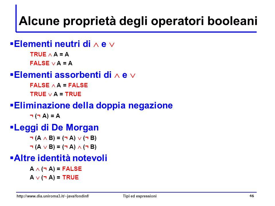 Alcune proprietà degli operatori booleani
