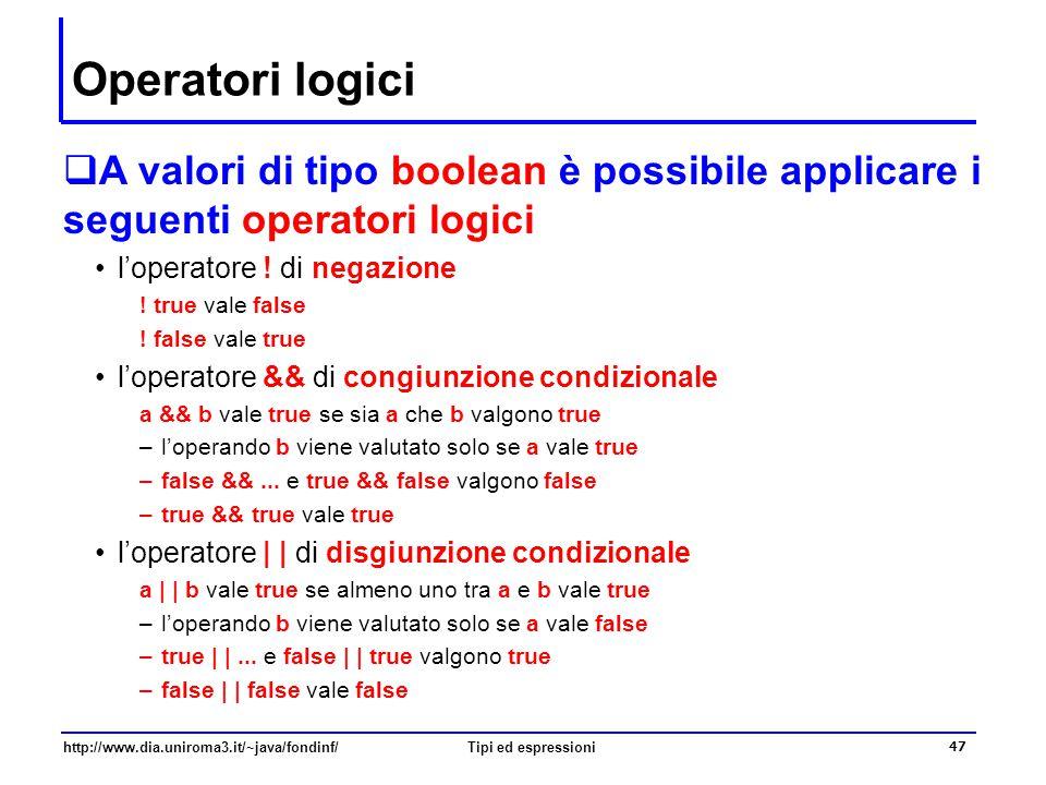 Operatori logici A valori di tipo boolean è possibile applicare i seguenti operatori logici. l'operatore ! di negazione.