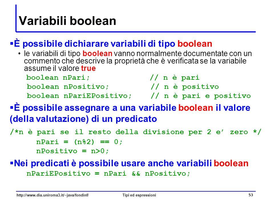 Variabili boolean È possibile dichiarare variabili di tipo boolean