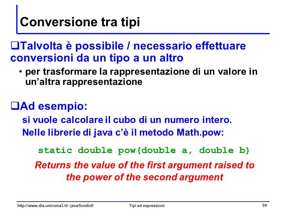 Conversione tra tipi Talvolta è possibile / necessario effettuare conversioni da un tipo a un altro.