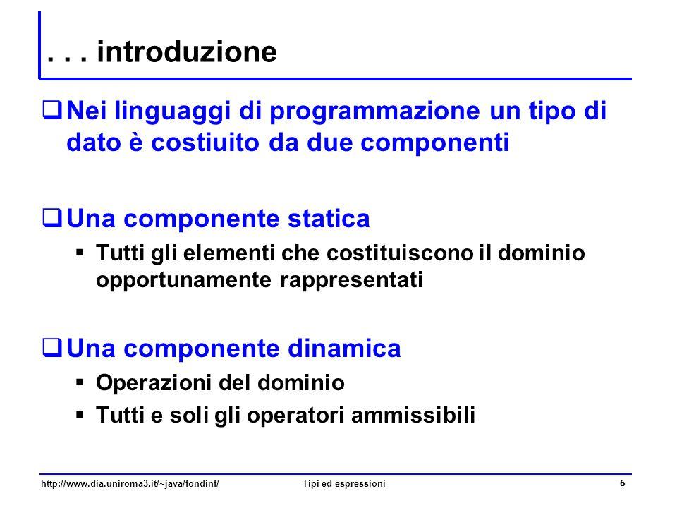 . . . introduzione Nei linguaggi di programmazione un tipo di dato è costiuito da due componenti. Una componente statica.