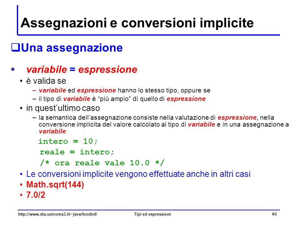 Assegnazioni e conversioni implicite