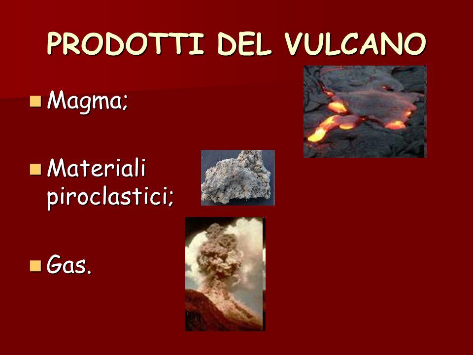 PRODOTTI DEL VULCANO Magma; Materiali piroclastici; Gas.