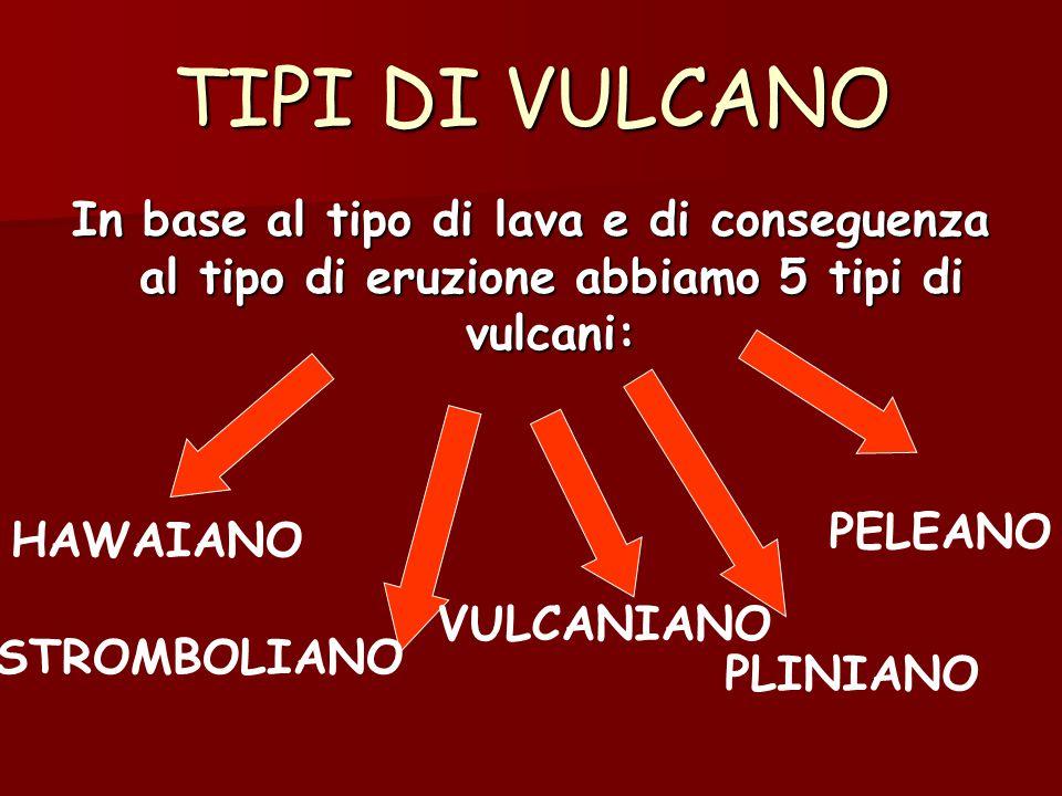 TIPI DI VULCANO In base al tipo di lava e di conseguenza al tipo di eruzione abbiamo 5 tipi di vulcani: