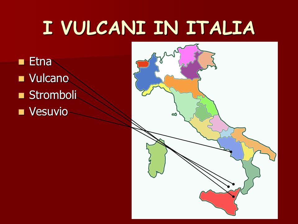 I VULCANI IN ITALIA Etna Vulcano Stromboli Vesuvio