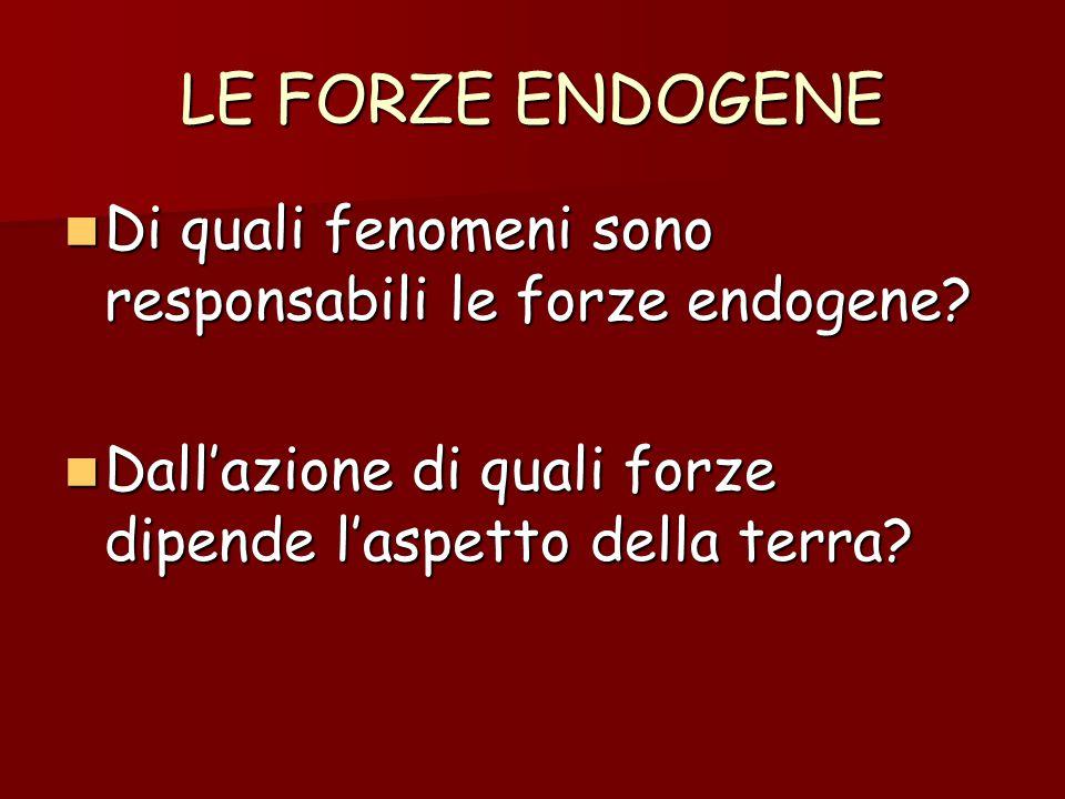 LE FORZE ENDOGENE Di quali fenomeni sono responsabili le forze endogene.