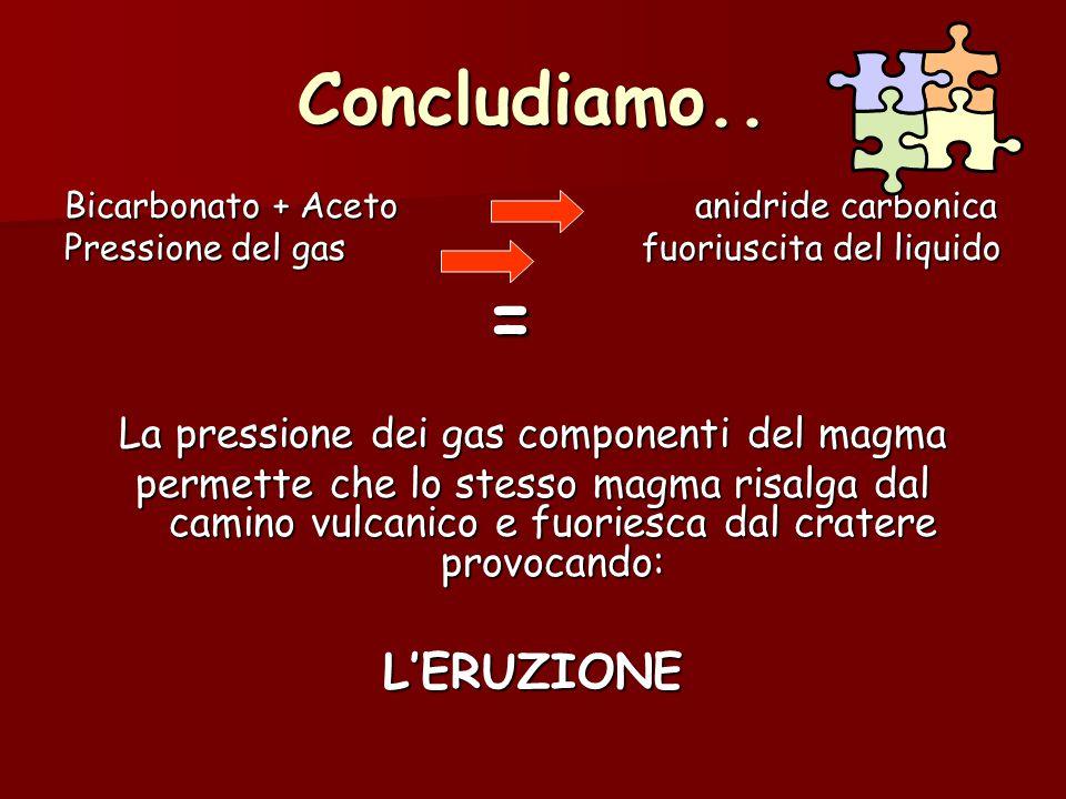 La pressione dei gas componenti del magma