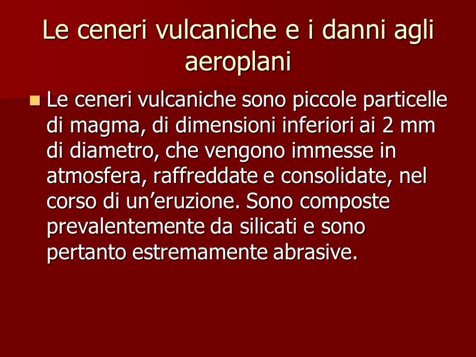 Le ceneri vulcaniche e i danni agli aeroplani