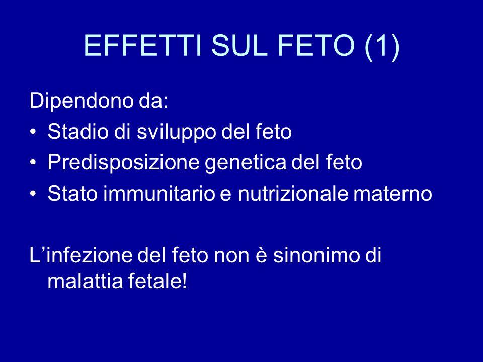 EFFETTI SUL FETO (1) Dipendono da: Stadio di sviluppo del feto