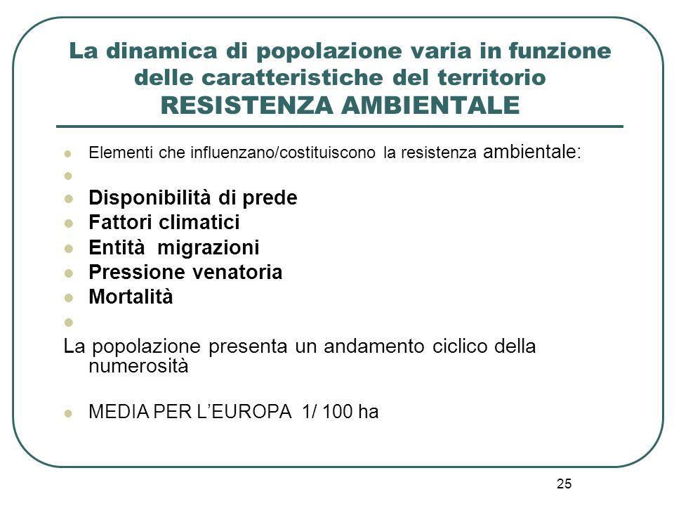 La dinamica di popolazione varia in funzione delle caratteristiche del territorio RESISTENZA AMBIENTALE