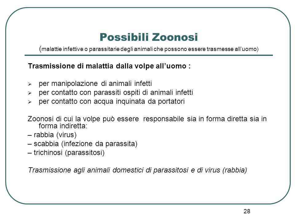 Possibili Zoonosi (malattie infettive o parassitarie degli animali che possono essere trasmesse all'uomo)