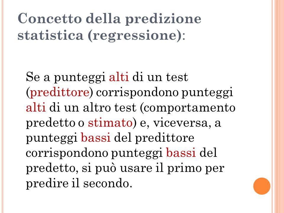 Concetto della predizione statistica (regressione):