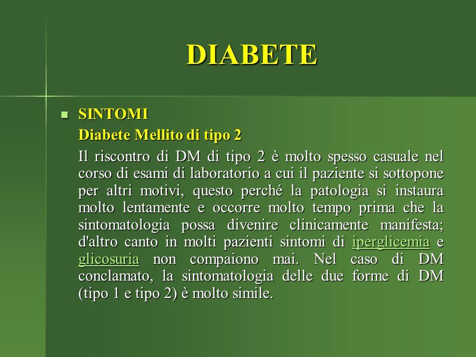 DIABETE SINTOMI Diabete Mellito di tipo 2