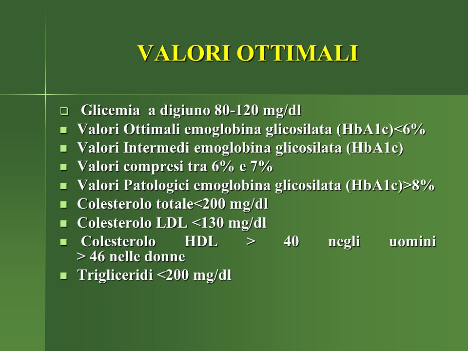 VALORI OTTIMALI Glicemia a digiuno 80-120 mg/dl