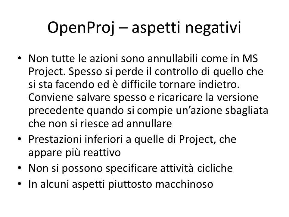 OpenProj – aspetti negativi