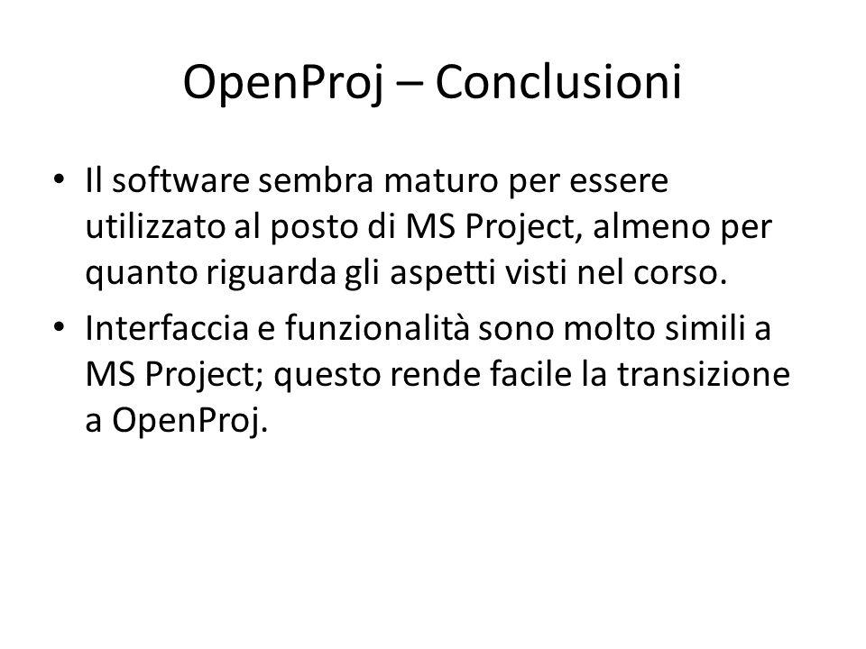 OpenProj – Conclusioni