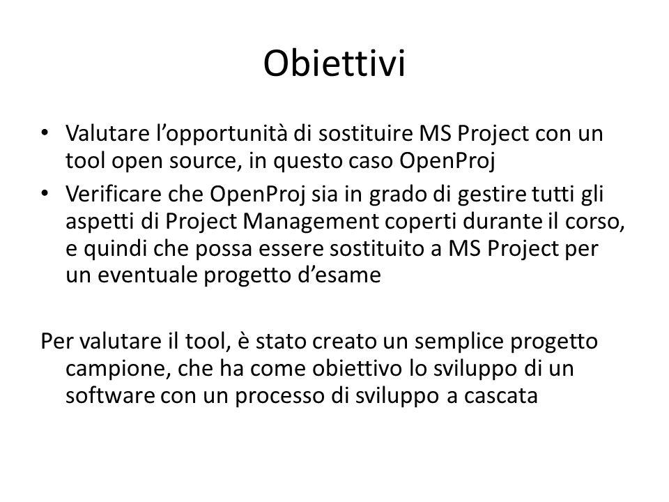Obiettivi Valutare l'opportunità di sostituire MS Project con un tool open source, in questo caso OpenProj.