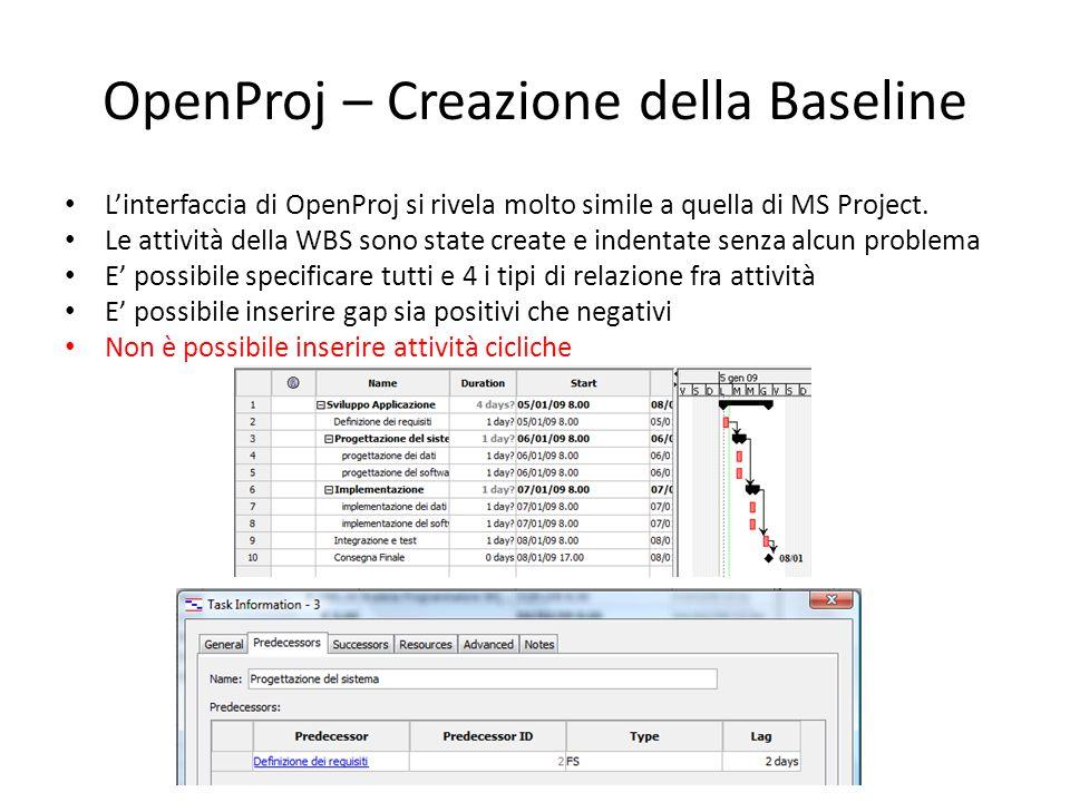 OpenProj – Creazione della Baseline