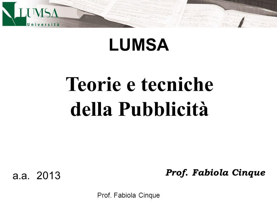 Teorie e tecniche della Pubblicità