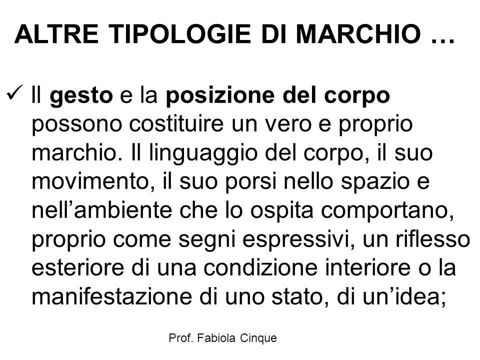 ALTRE TIPOLOGIE DI MARCHIO …