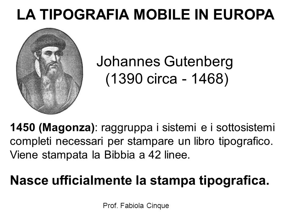 LA TIPOGRAFIA MOBILE IN EUROPA