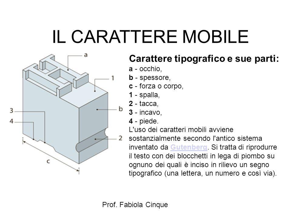 IL CARATTERE MOBILE Carattere tipografico e sue parti: a - occhio,