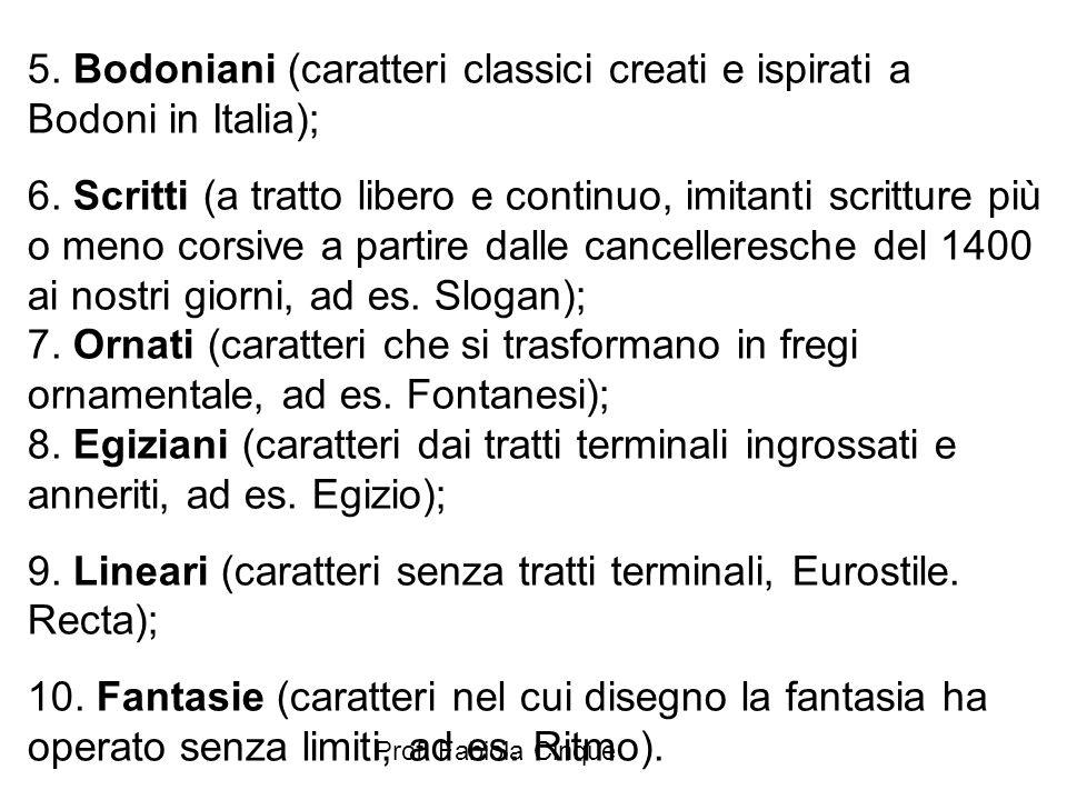 9. Lineari (caratteri senza tratti terminali, Eurostile. Recta);