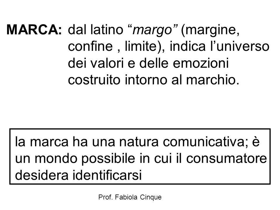 MARCA: dal latino margo (margine, confine , limite), indica l'universo dei valori e delle emozioni costruito intorno al marchio.