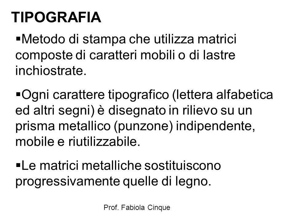TIPOGRAFIA Metodo di stampa che utilizza matrici composte di caratteri mobili o di lastre inchiostrate.