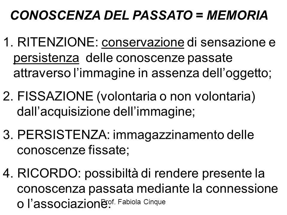 CONOSCENZA DEL PASSATO = MEMORIA