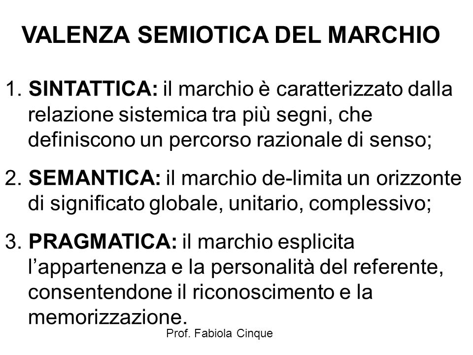 VALENZA SEMIOTICA DEL MARCHIO