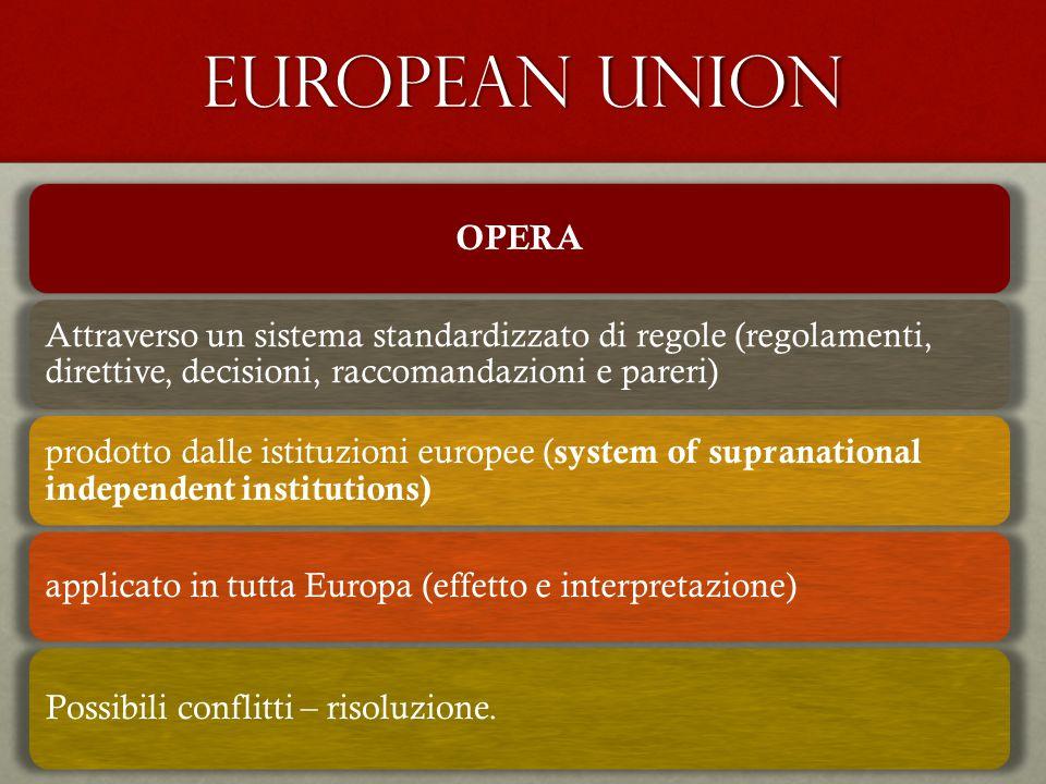 EUROPEAN UNION OPERA. Attraverso un sistema standardizzato di regole (regolamenti, direttive, decisioni, raccomandazioni e pareri)