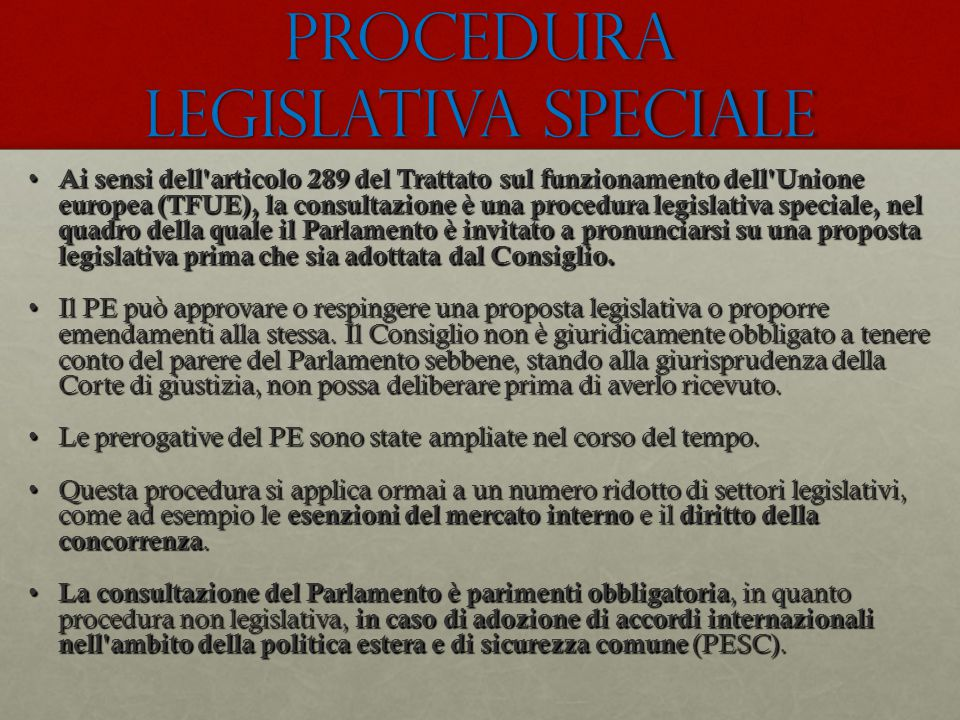 procedura legislativa speciale