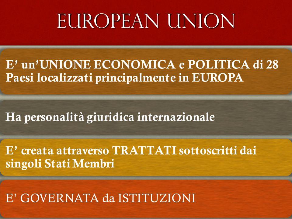 EUROPEAN UNION E' un'UNIONE ECONOMICA e POLITICA di 28 Paesi localizzati principalmente in EUROPA. Ha personalità giuridica internazionale.